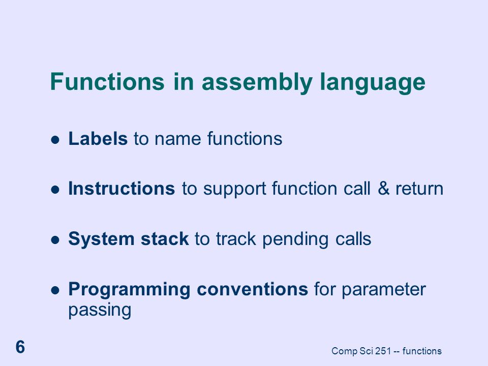 Functions in assembly language