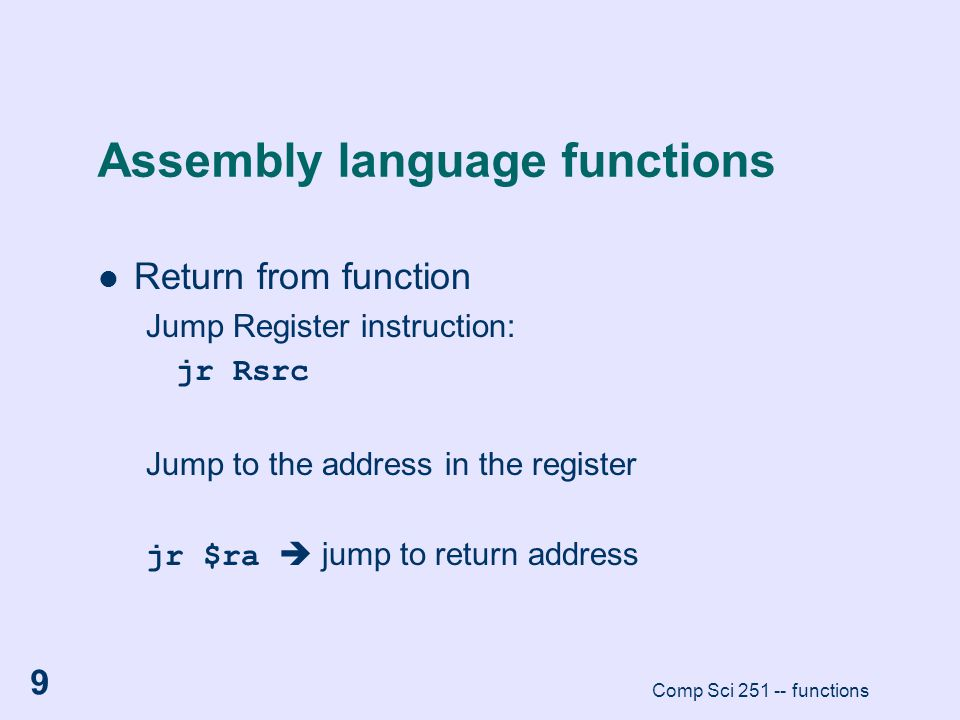 Assembly language functions