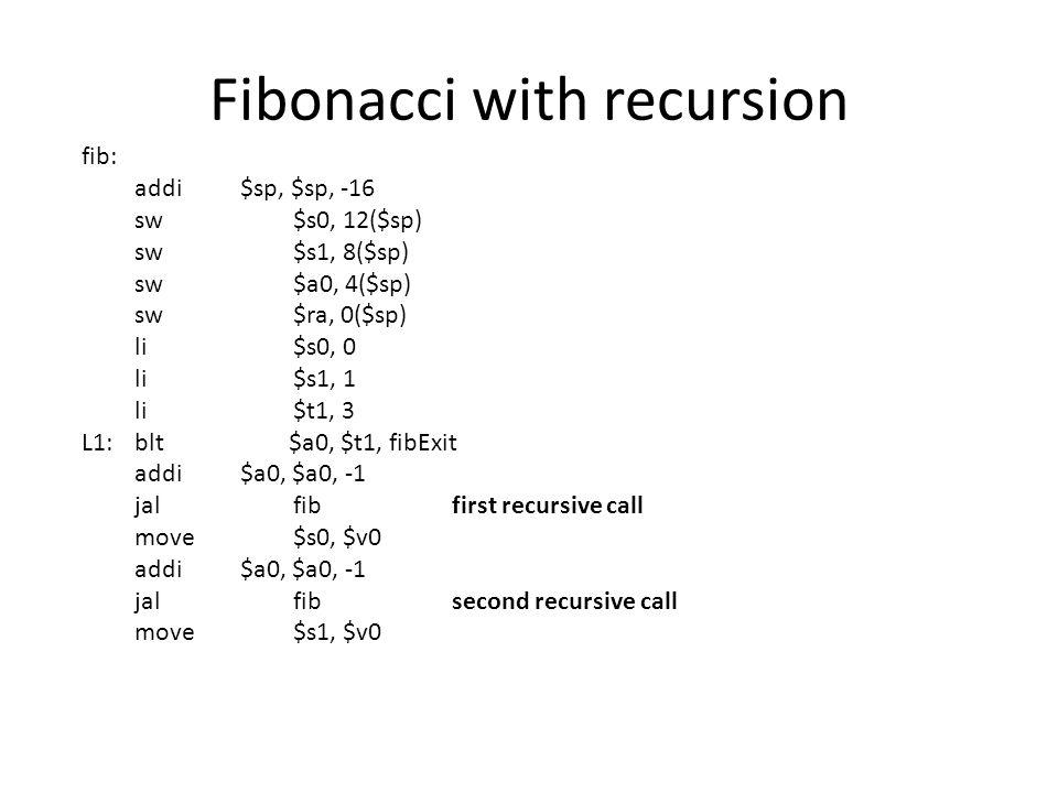 Fibonacci with Loop int fib1(int i) { int f1 = 1