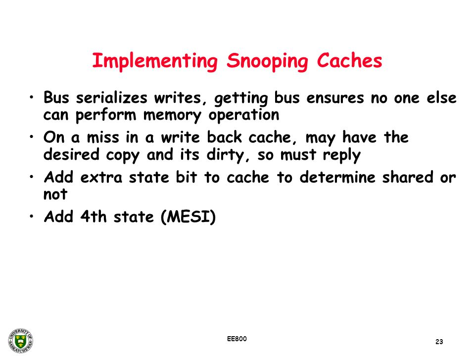 Implementing Snooping Caches