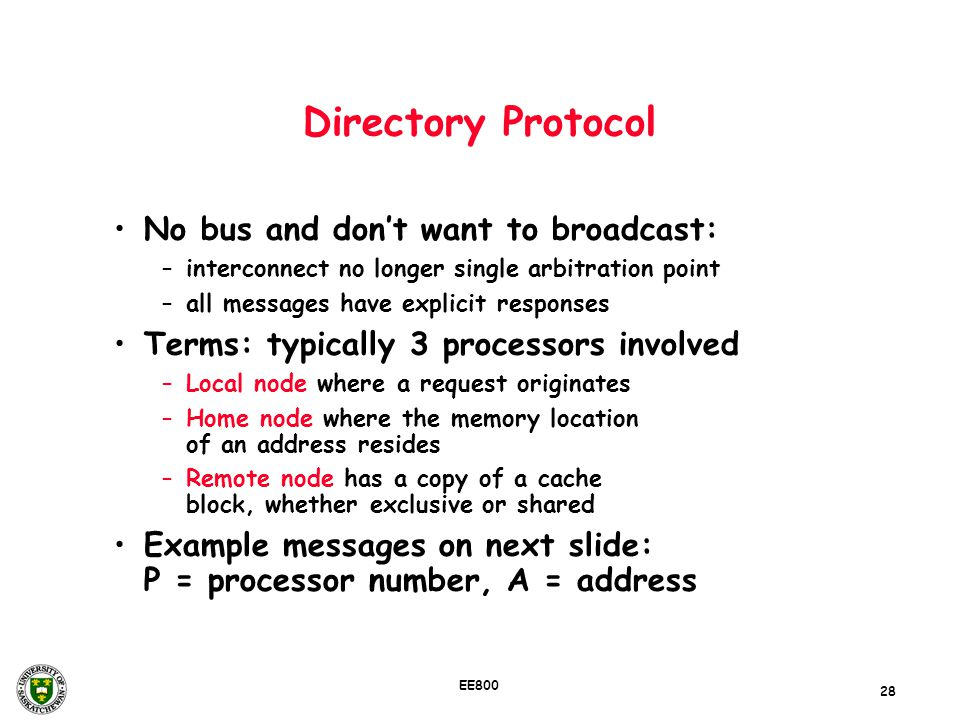 Directory Protocol No bus and don't want to broadcast: