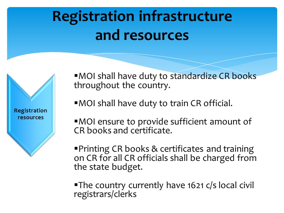 Registration infrastructure