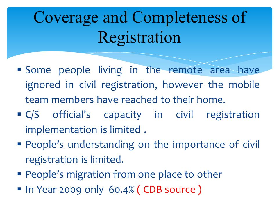 Coverage and Completeness of Registration