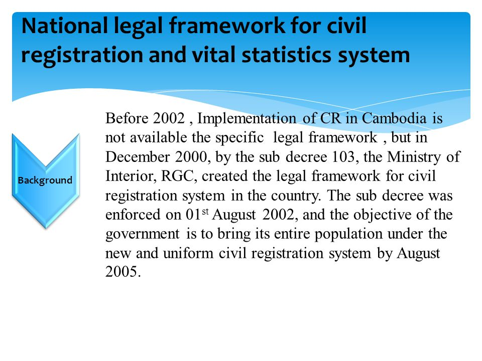 National legal framework for civil registration and vital statistics system