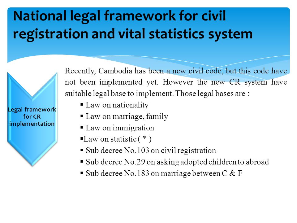 Legal framework for CR implementation