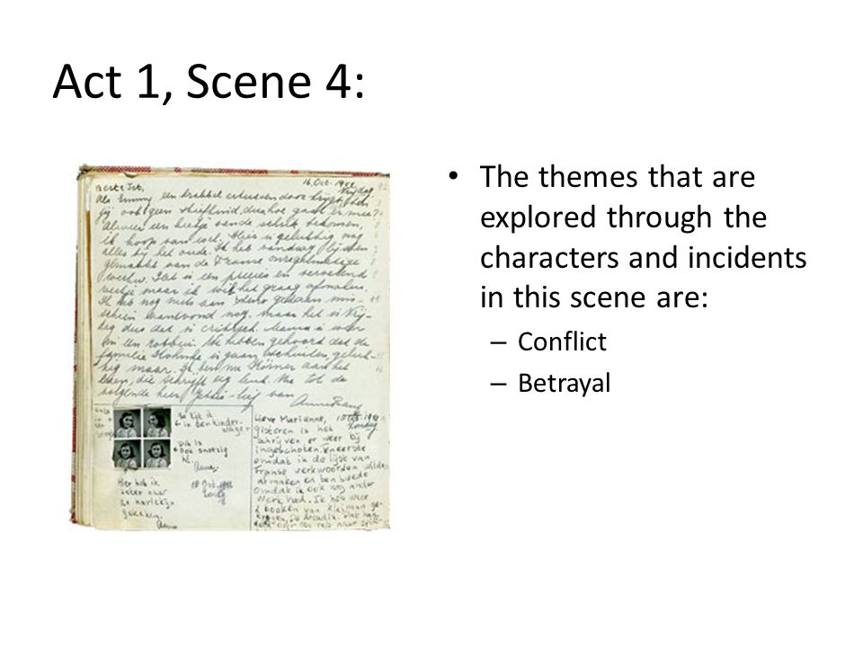 Act 1, Scene 4: The themes that are explored through the characters and incidents in this scene are: