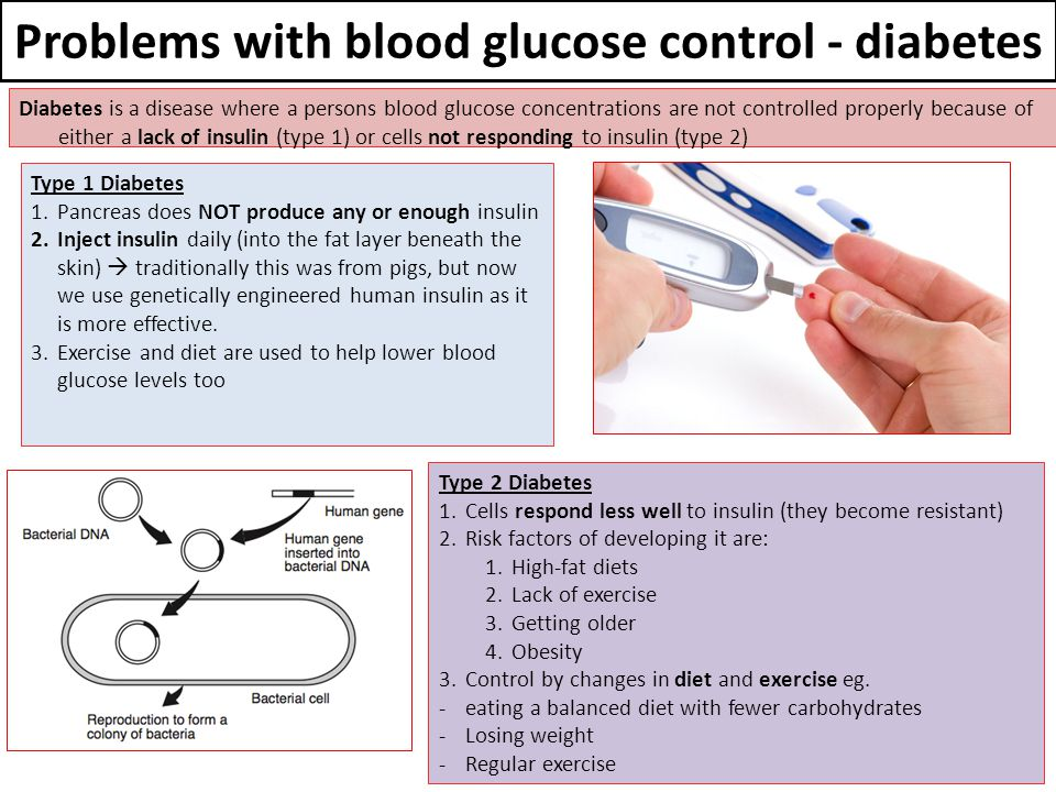 Problems with blood glucose control - diabetes