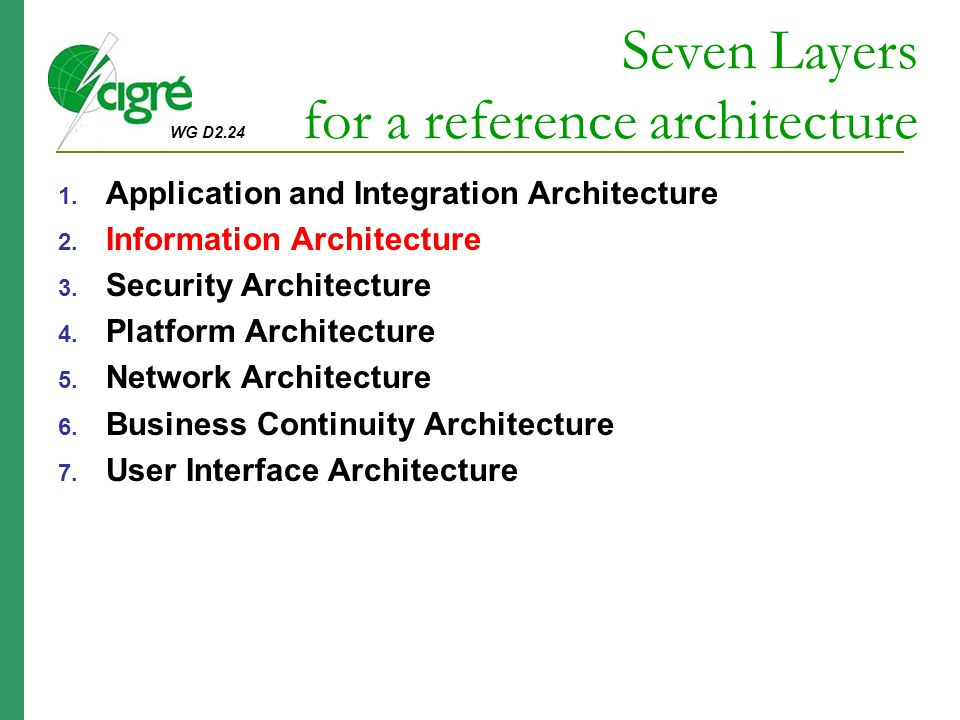 Seven Layers for a reference architecture
