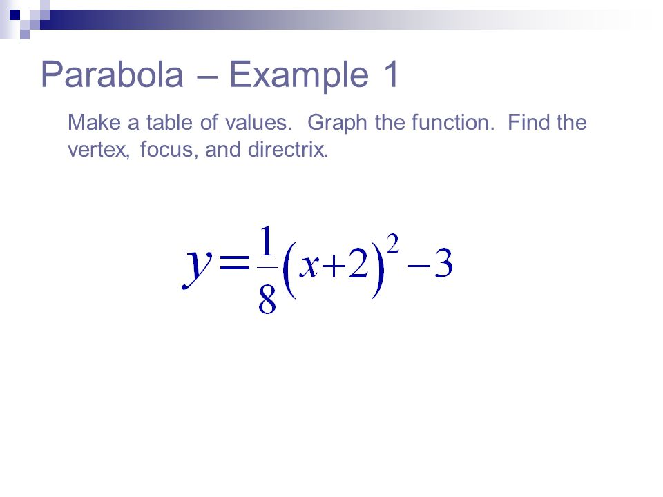 Parabola – Example 1 Make a table of values. Graph the function.