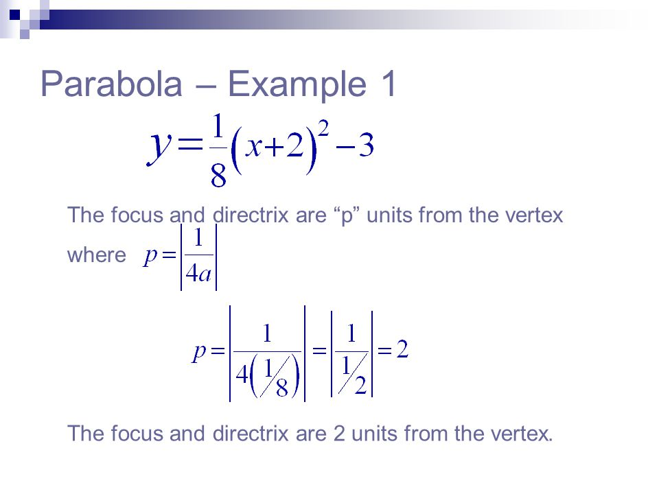 Parabola – Example 1 The focus and directrix are p units from the vertex.