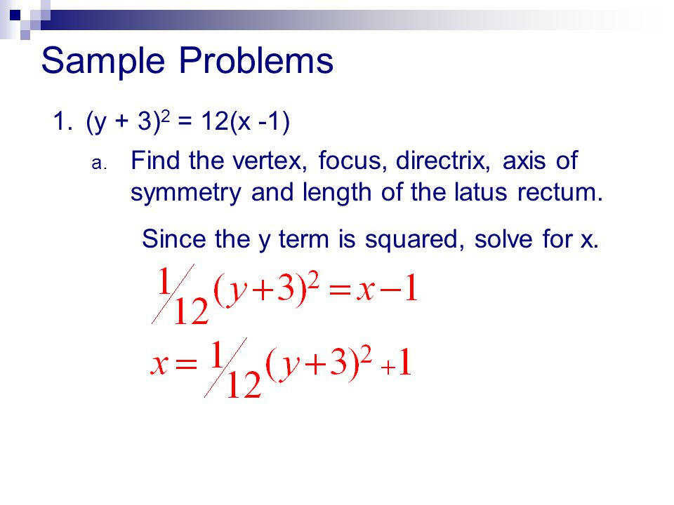 Sample Problems 1. (y + 3)2 = 12(x -1)
