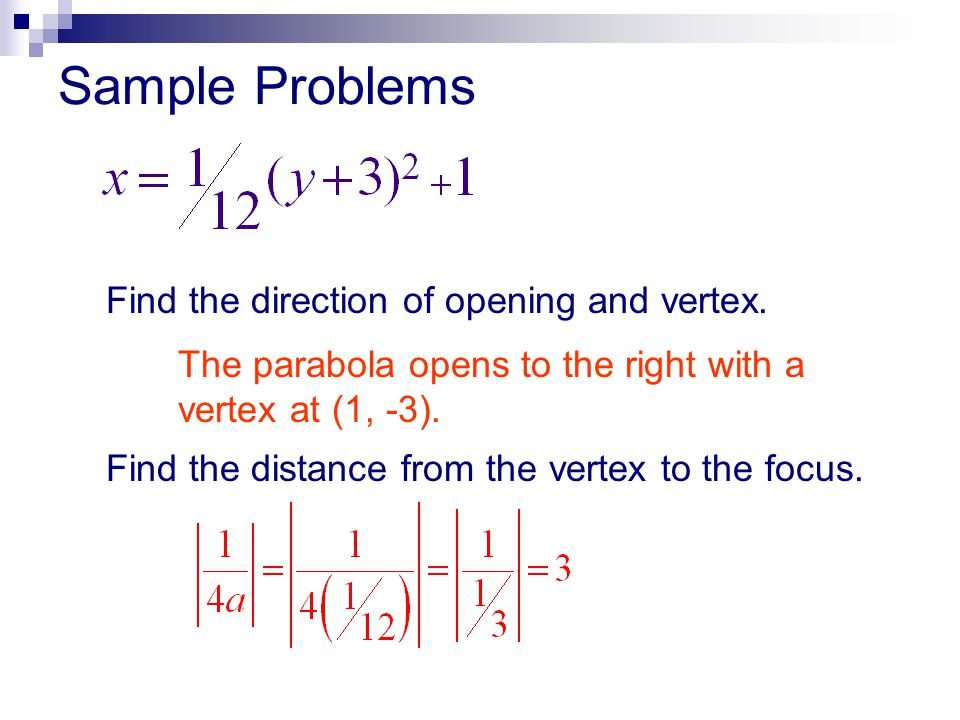 Sample Problems Find the direction of opening and vertex.