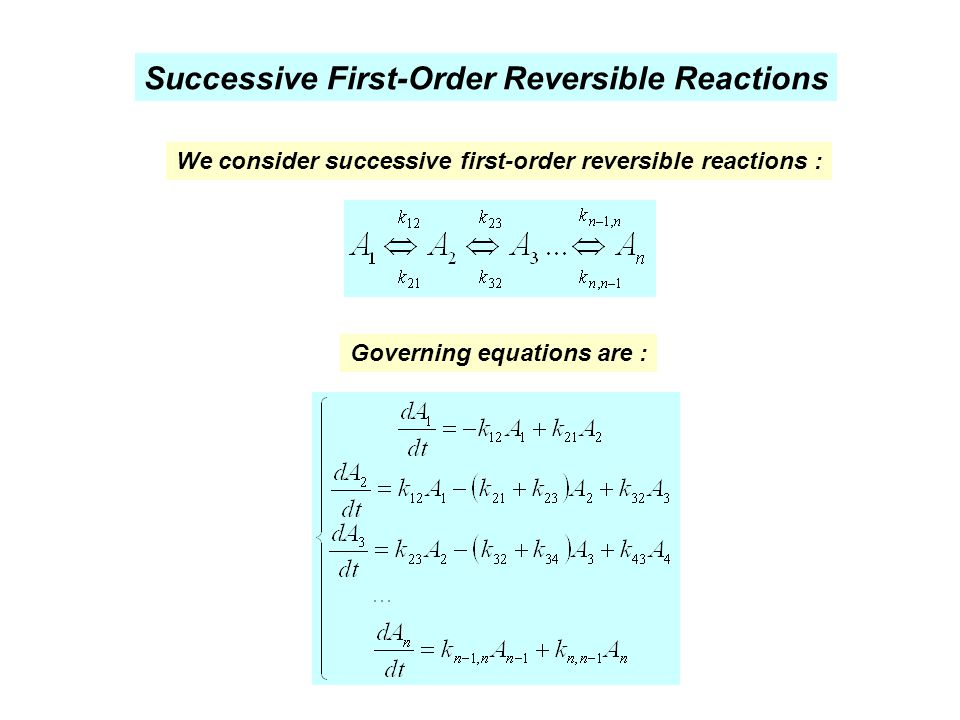 Successive First-Order Reversible Reactions