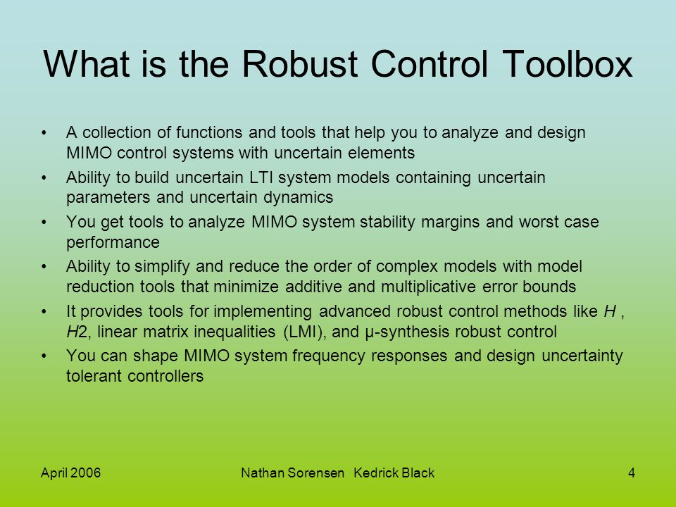 Matlab Robust Control Toolbox - ppt download