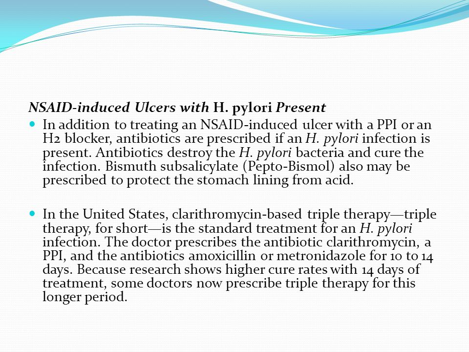 NSAID-induced Ulcers with H. pylori Present