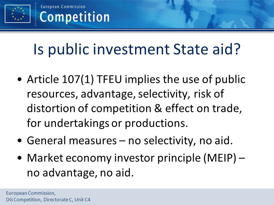 Is public investment State aid