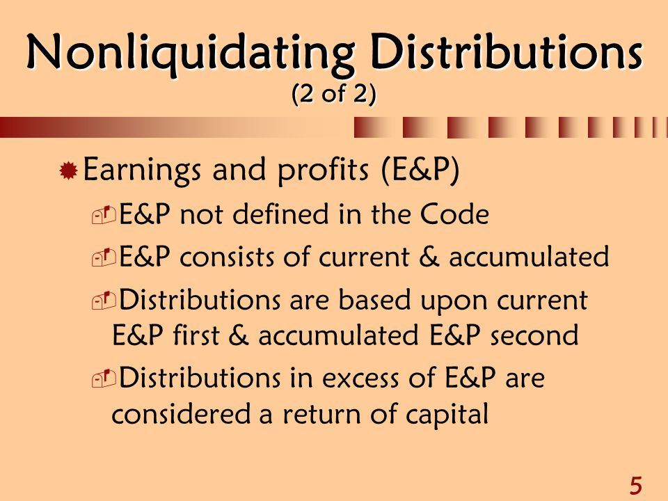 Non liquidating distribution s corporation definition