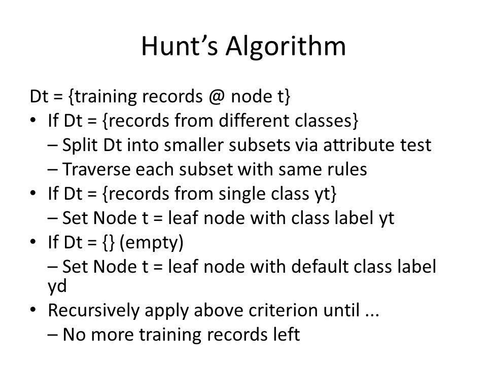 Hunt's Algorithm Dt = {training node t}