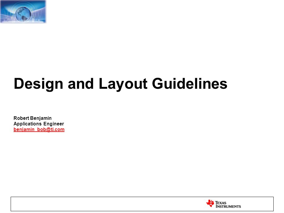 Design and Layout Guidelines - ppt download