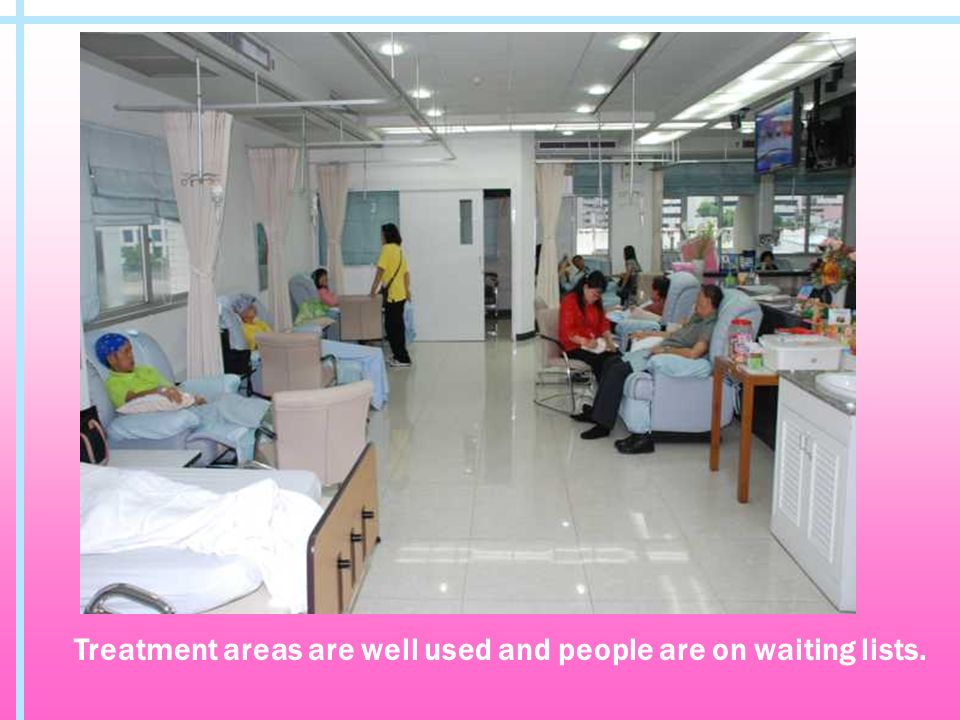 Treatment areas are well used and people are on waiting lists.