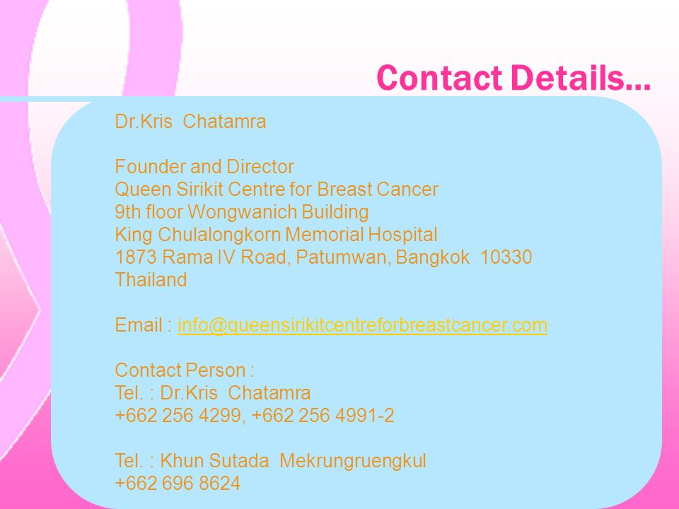 Contact Details… Dr.Kris Chatamra Founder and Director