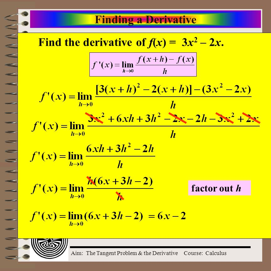 Find the derivative of f(x) = 3x2 – 2x.