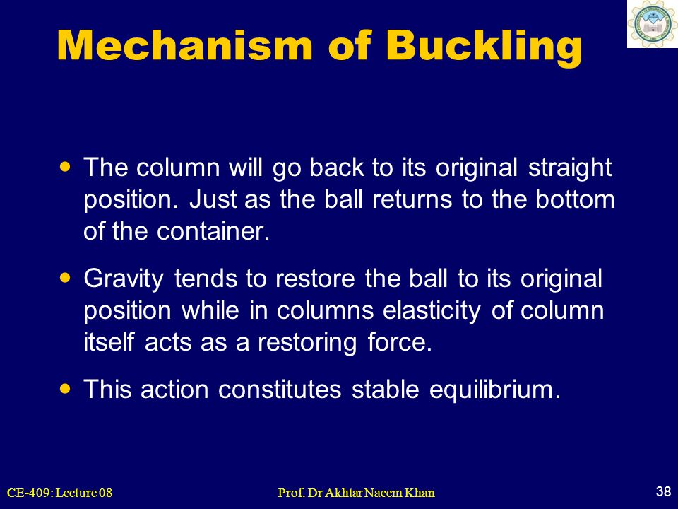 Mechanism of Buckling The column will go back to its original straight position. Just as the ball returns to the bottom of the container.