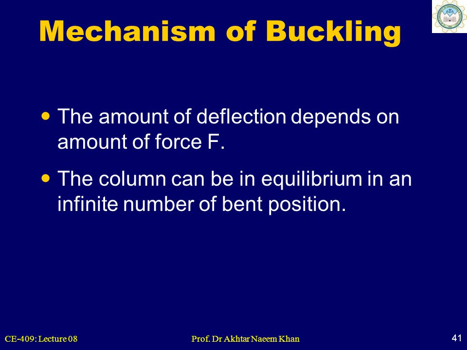 Mechanism of Buckling The amount of deflection depends on amount of force F.
