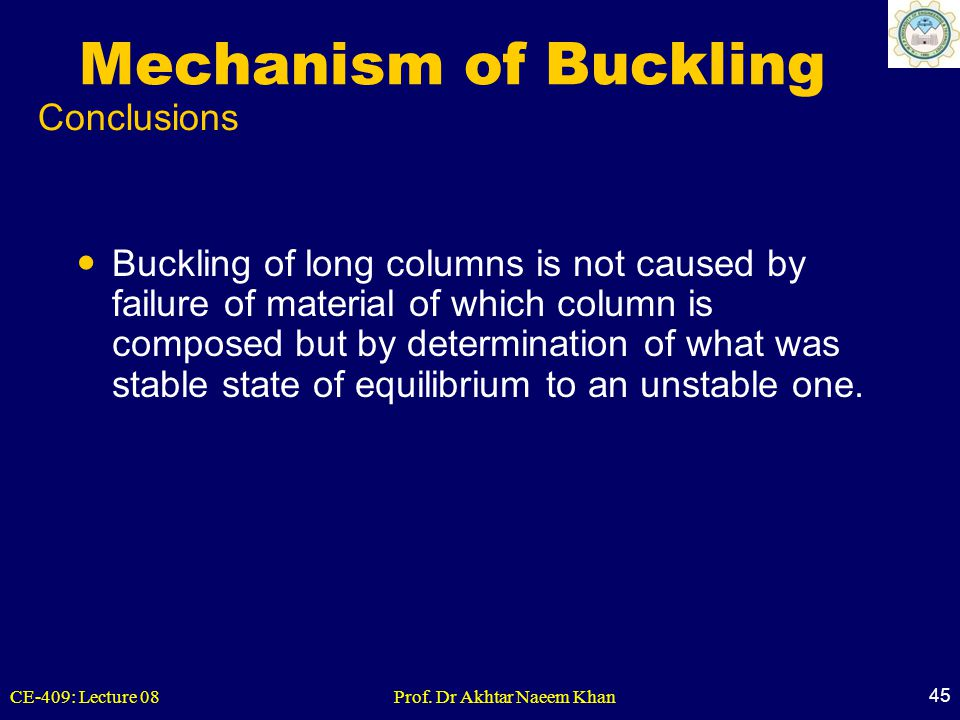 Mechanism of Buckling Conclusions