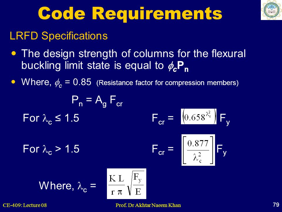 Code Requirements LRFD Specifications