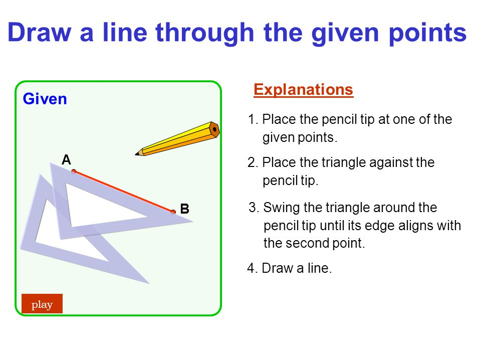 Draw a line through the given points