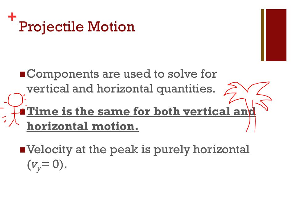 Projectile Motion Components are used to solve for vertical and horizontal quantities. Time is the same for both vertical and horizontal motion.