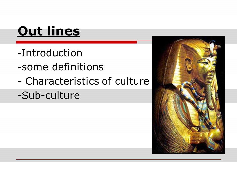 Out lines -Introduction -some definitions - Characteristics of culture