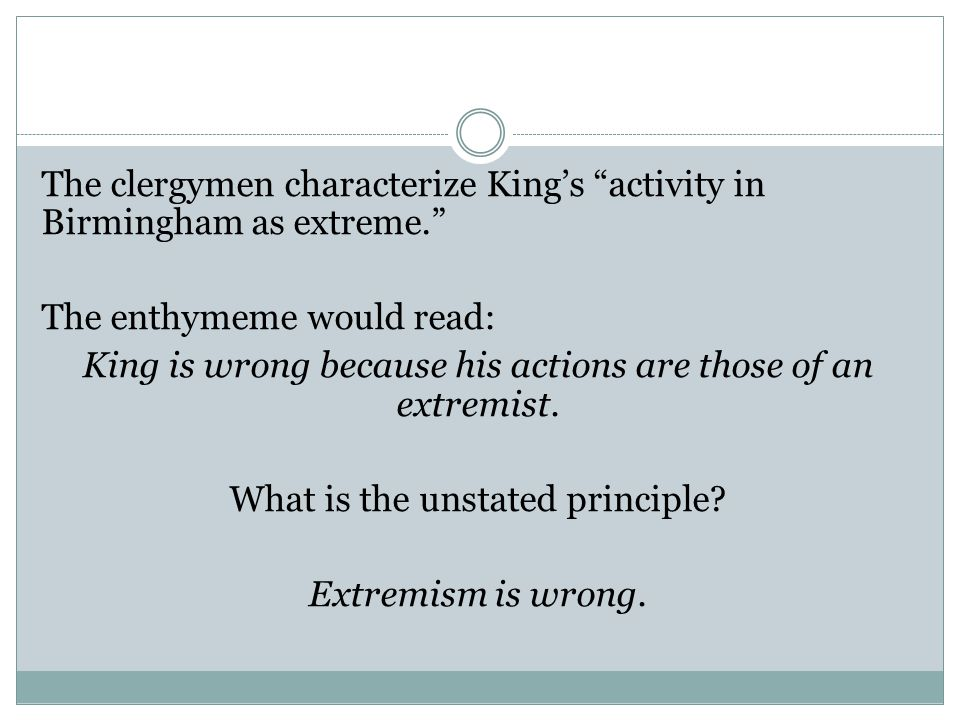 The clergymen characterize King's activity in Birmingham as extreme