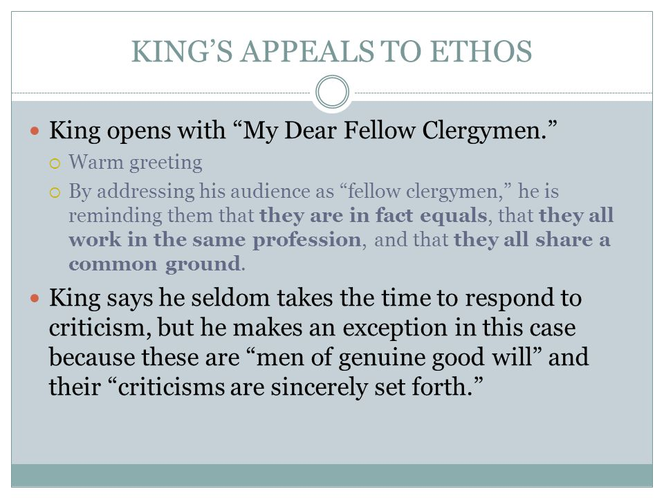 KING'S APPEALS TO ETHOS
