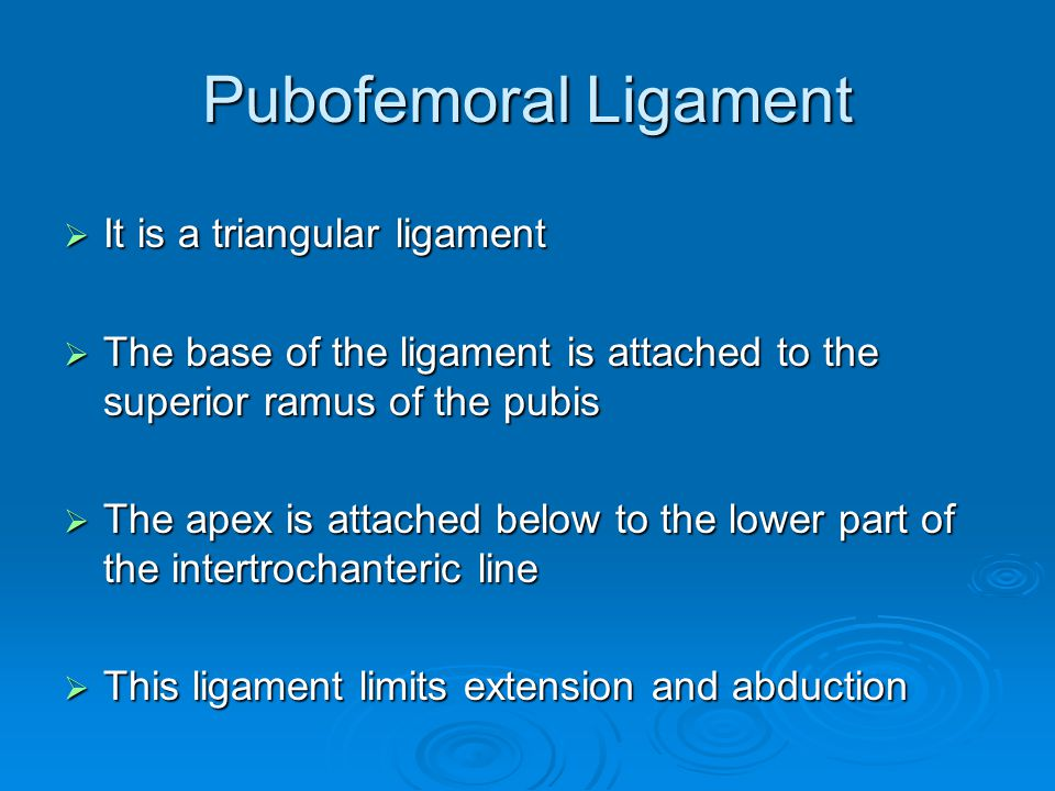 Pubofemoral Ligament It is a triangular ligament