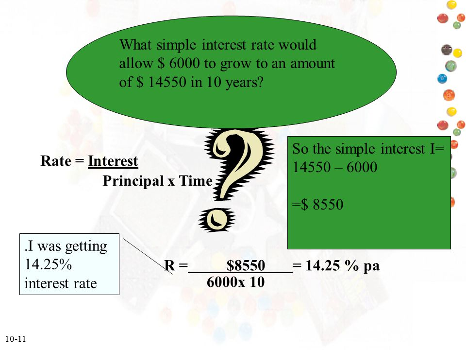 What simple interest rate would allow $ 6000 to grow to an amount of $ in 10 years