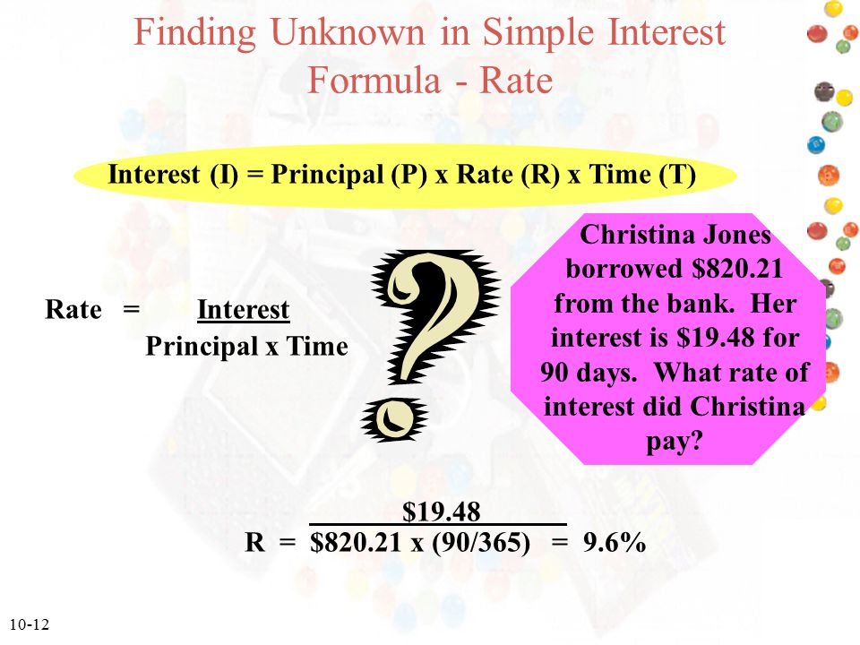 Finding Unknown in Simple Interest Formula - Rate
