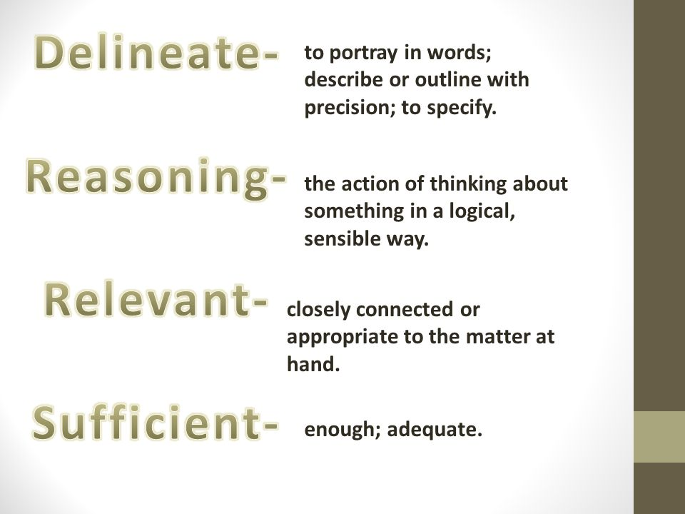 Delineate- Reasoning- Relevant- Sufficient-