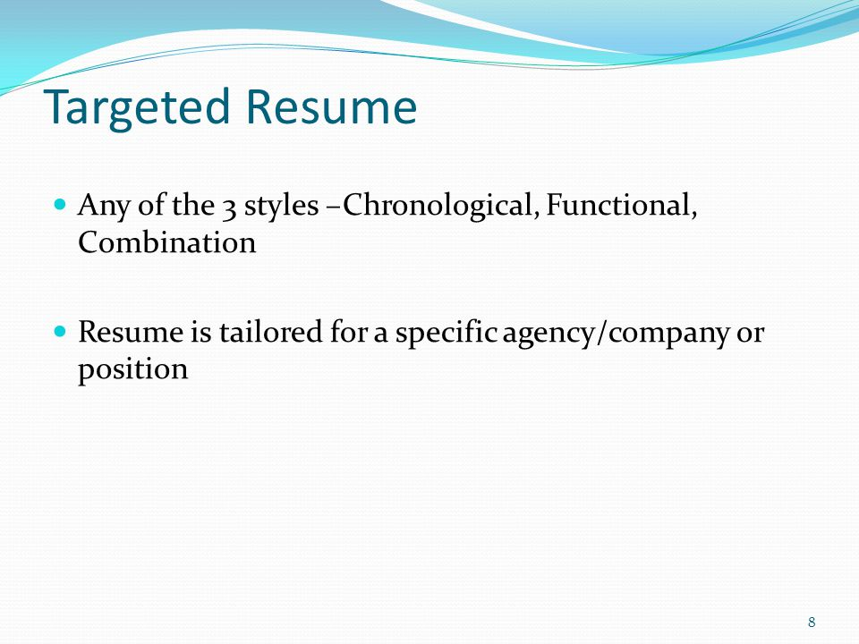 Chronological A Functional Combination Or A Targeted Resume