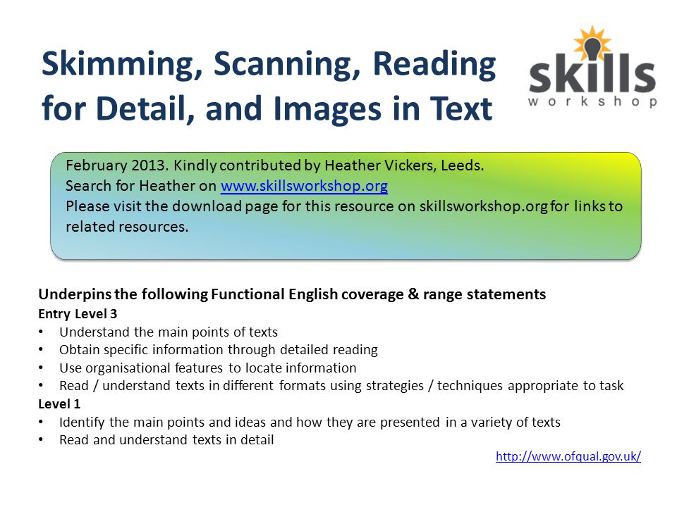 Skimming, Scanning, Reading for Detail, and Images in Text - ppt ...