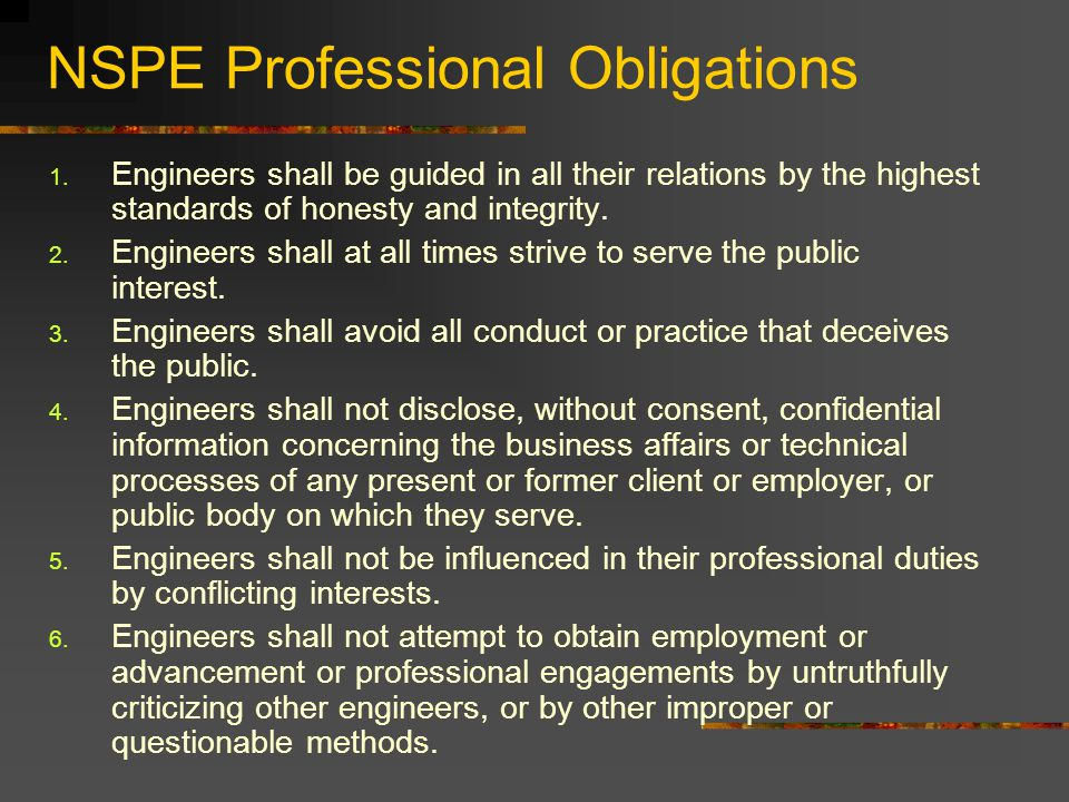 NSPE Professional Obligations