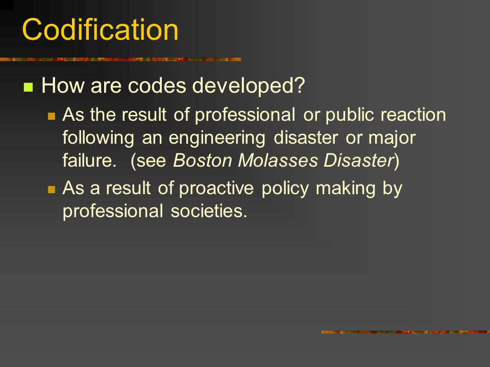 Codification How are codes developed