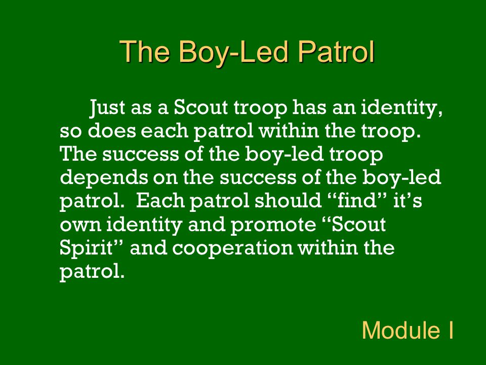 The Boy-Led Patrol Module I