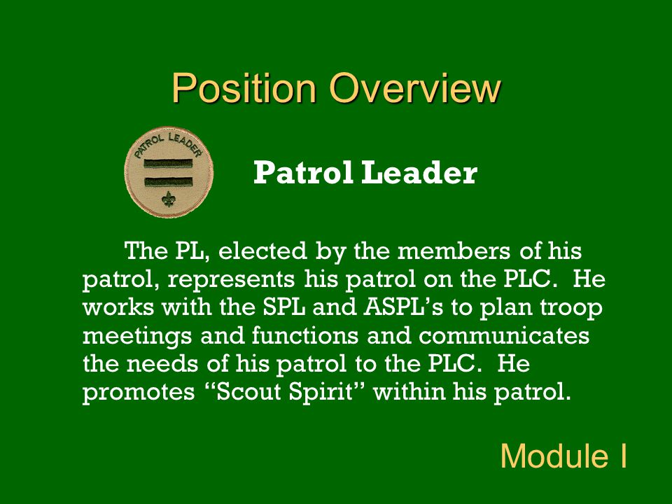 Position Overview Patrol Leader Module I