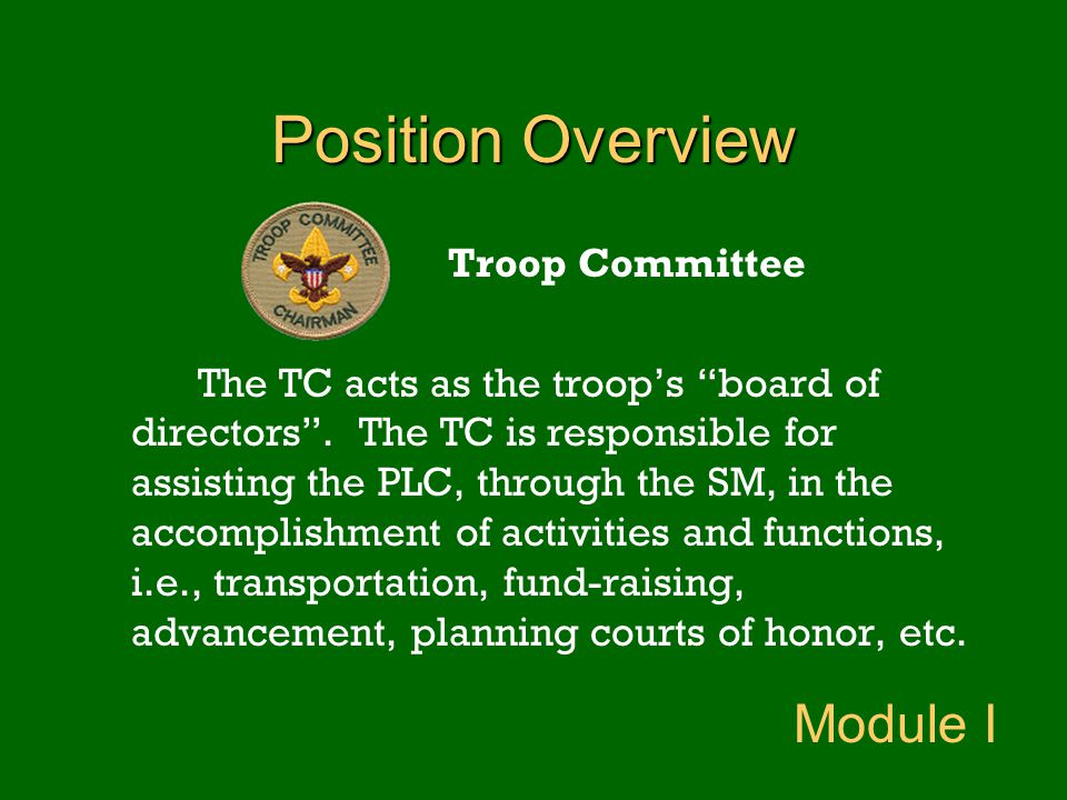 Position Overview Module I Troop Committee