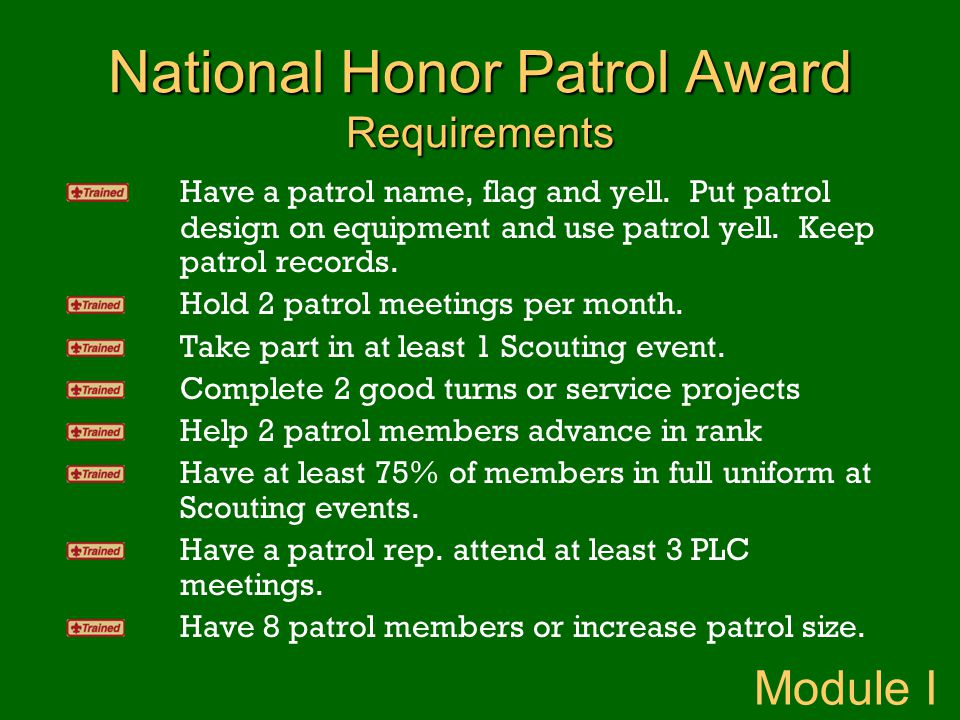 National Honor Patrol Award Requirements