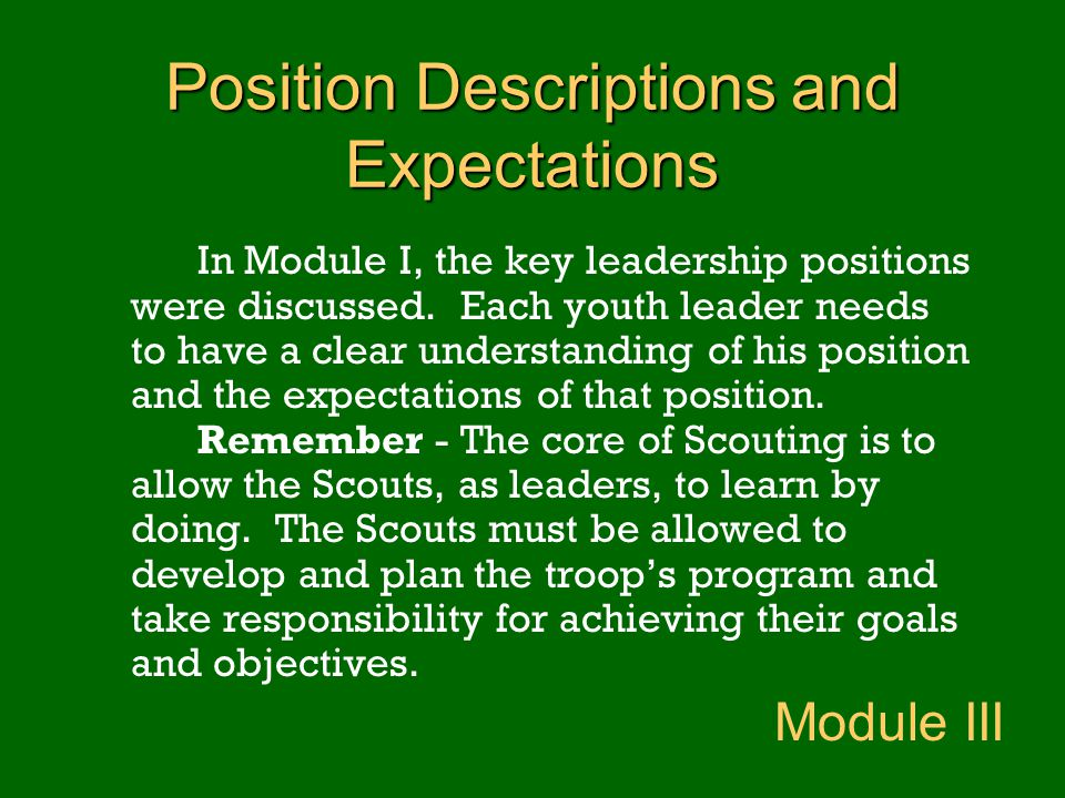 Position Descriptions and Expectations