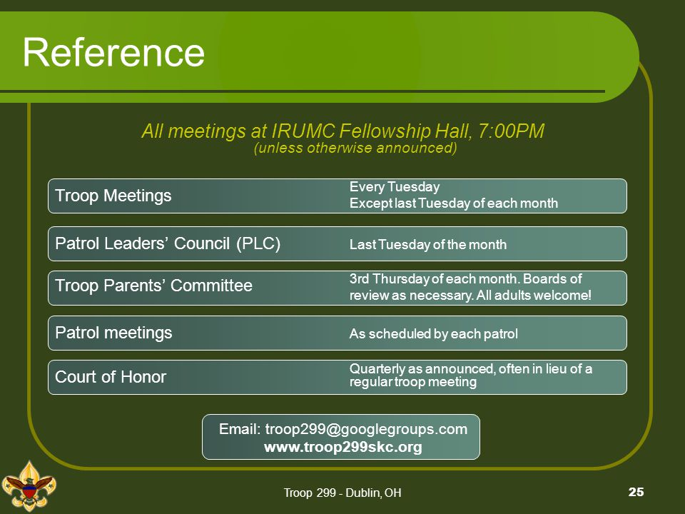 4/4/2006. Reference. All meetings at IRUMC Fellowship Hall, 7:00PM (unless otherwise announced)
