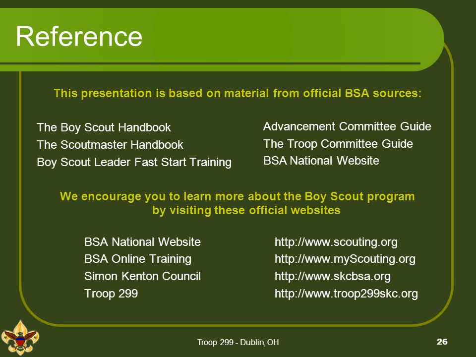 This presentation is based on material from official BSA sources:
